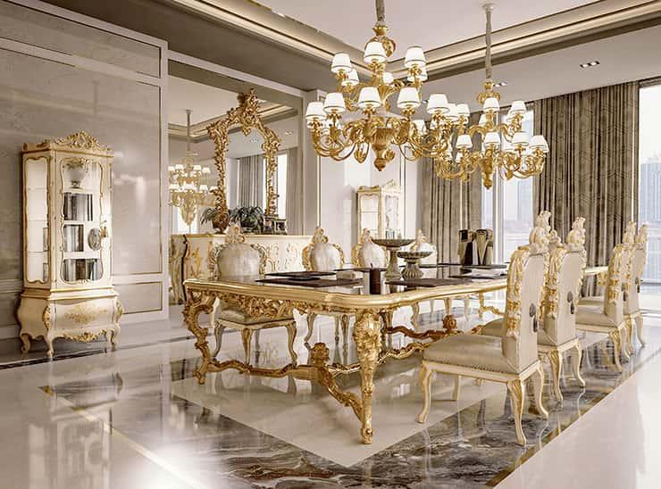 Classic Wood Dining Room Handmade, Luxury Dining Room Furniture Italy